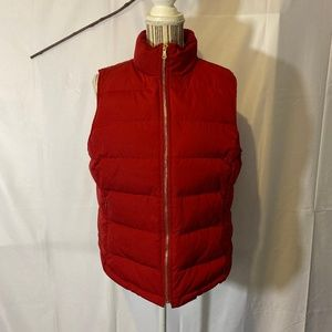 Talbots Red Puffer Vest with Gold Accents SZ LP